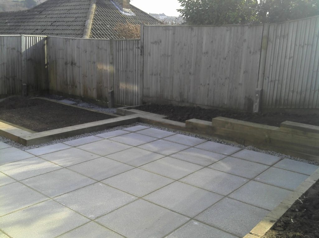 Paving and Sleeper retaining wall - Mr Linsted - Saltdean